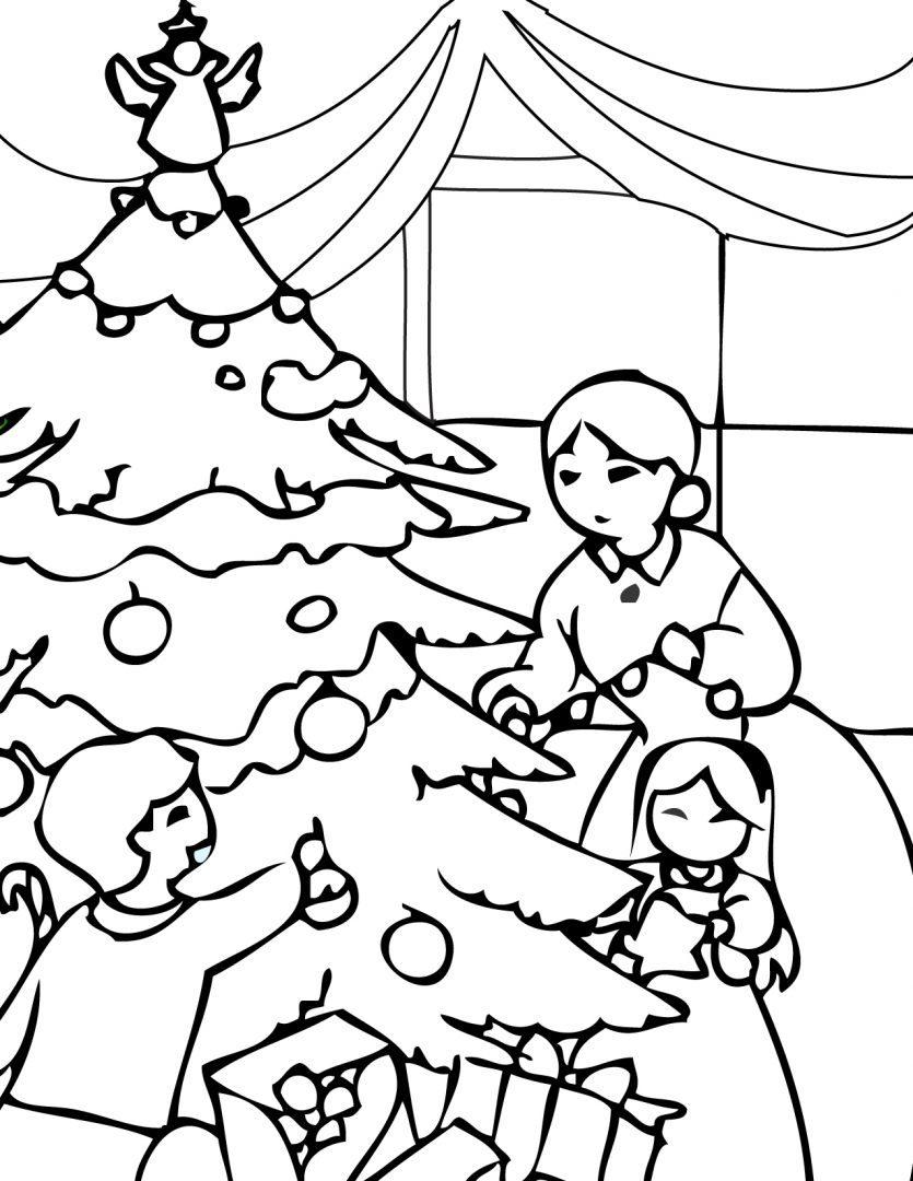 Moderno árbol De Navidad Para Colorear Para Niños Para Imprimir ...